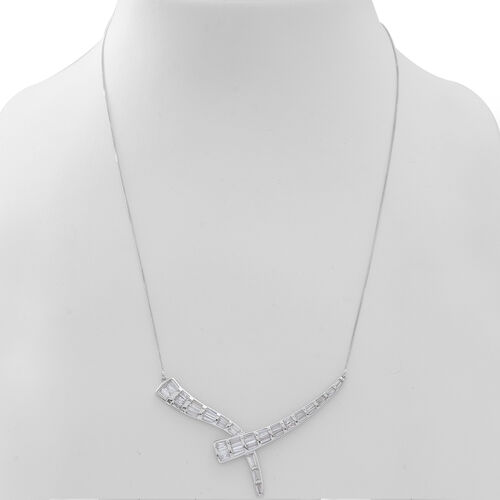 ELANZA AAA Simulated White Diamond (Bgt) Necklace (Size 16) in Rhodium Plated Sterling Silver