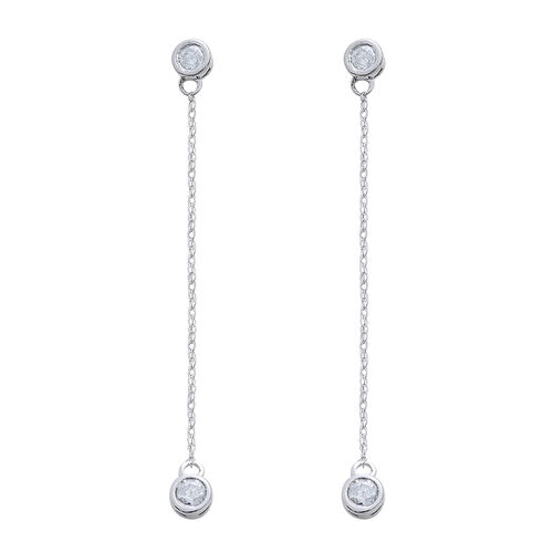 Constellation 9K W Gold SGL Certified Diamond (Rnd) (I3/ G-H) Drop Earrings (with Push Back) 0.500 Ct.