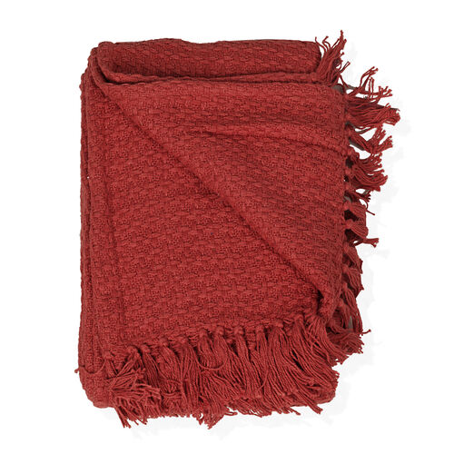 100% Cotton Red Colour Throw with Fringes (Size 150x125 Cm)