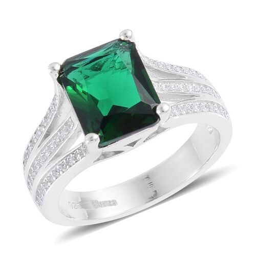 Simulated Emerald and Simulated White Diamond Ring in Rhodium Plated Sterling Silver