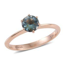 ILIANA 18K Rose Gold 0.75 Carat Santa Maria Aquamarine Solitaire Ring .