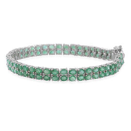 AAA  Kagem Zambian Emerald (Ovl) Bracelet (Size 8) in Rhodium Plated Sterling Silver 13.750 Ct.