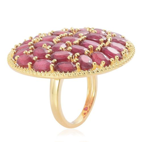 African Ruby (Ovl) Cluster Ring in Yellow Gold Overlay Sterling Silver 22.250 Ct.