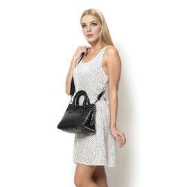 Genuine Leather Ostrich Pattern Black Colour Handbag with Removable Shoulder Strap (Size 26x20 Cm)