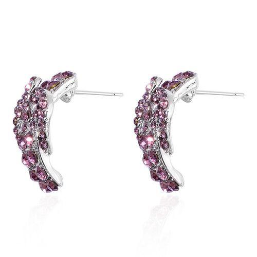 AAA Purple Austrian Crystal Adjustable Buckle Bracelet and Earrings in Silver Tone