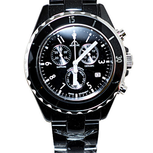 MONCHIC High Tech. Ceramic Chronograph Swiss Movement Sapphire Crystal, Diamond Dial Gents Watch  0.005  Ct.