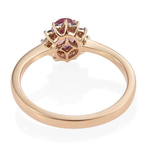 ILIANA 18K Yellow Gold 1 Carat Ceylon Padparadscha Sapphire Oval, Diamond SI G-H Engagement Ring.