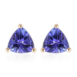 ILIANA 18K Yellow Gold 1.50 Carat AAA Tanzanite Trillion Solitaire Stud Earrings with Screw Back.