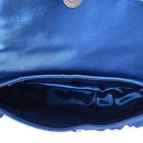 Royal Blue Satin Clutch with Dahlia Flower and Removable Chain Strap (Size 23x15 Cm)