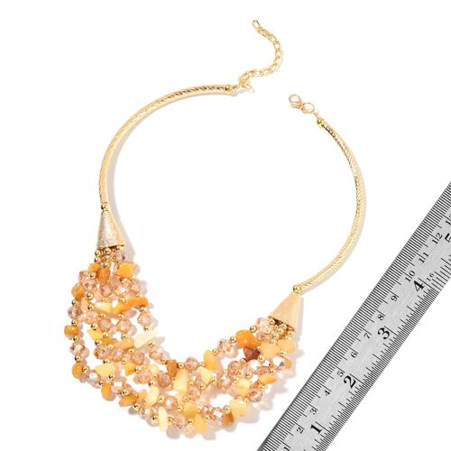 Yellow Jade, Simulated Champagne Diamond and Simulated Golden Pearl Multi Row Necklace (Size 18 with 5 inch Extender) in Yellow Gold Tone