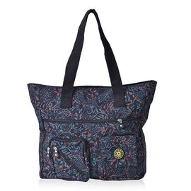 Red, Green and Multi Colour Leaves Pattern Black Colour Tote Bag With External Zipper Pocket (Size 37x35x10 Cm)