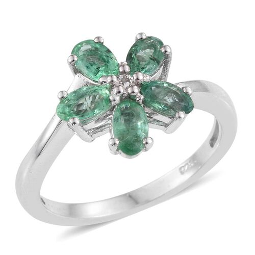 Kagem Zambian Emerald (Ovl), White Topaz Floral Ring in Platinum Overlay Sterling Silver 1.000 Ct.