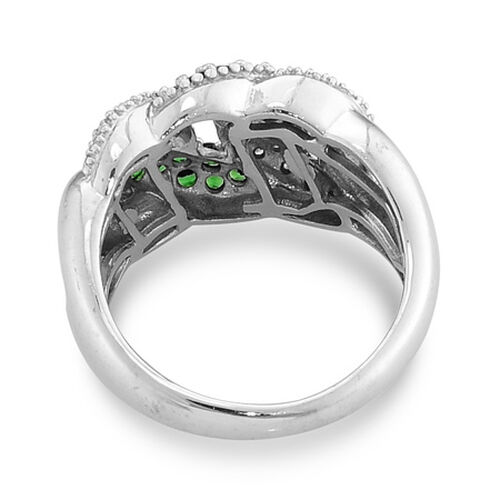 Tsavorite Garnet and Diamond Platinum Overlay Sterling Silver Ring  0.660 Ct.