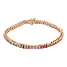 One Time Deal-14K Y Gold AAA Rainbow Sapphire (Sqr) Tennis Bracelet 7.000 Ct.Gold Wt 9.60Gms Size 7