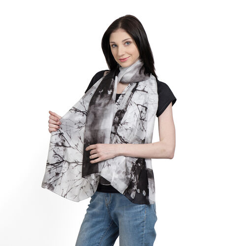 100% Mulberry Silk (30-36 GSM)  Black, White and Multi Colour Printed Pareo (Size 180x100 Cm)