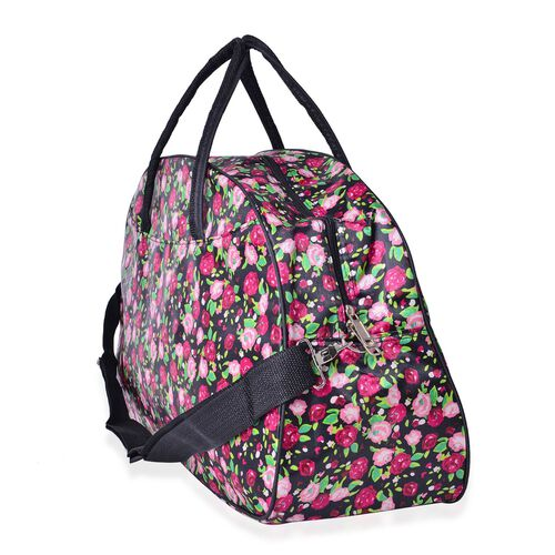 Multi Colour Floral Pattern Black Colour Weekend Bag with External Zipper Pocket and Adjustable Shoulder Strap (Size 50x31x17 Cm)
