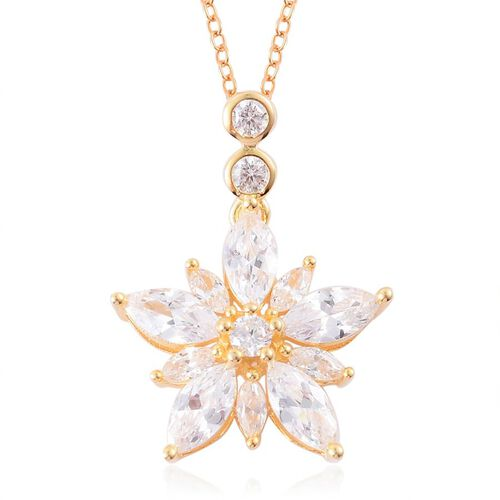 ELANZA AAA Simulated White Diamond Floral Pendant With Chain in Yellow Gold Overlay Sterling Silver