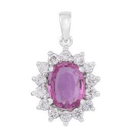 ILIANA 18K W Gold AAAA Rare Intense Pink Sapphire (Ovl 2.00 Ct), Diamond Pendant 2.500 Ct.