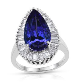 RHAPSODY 950 Platinum AAAA Tanzanite (Pear 8.65 Ct), Diamond (VS/E-F) Ring 9.900 Ct.