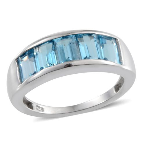 Electric Swiss Blue Topaz (Bgt) 5 Stone Band Ring in Platinum Overlay Sterling Silver 3.250 Ct.