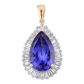 ILIANA 18K Y Gold AAA Tanzanite (Pear 5.50 Ct), Diamond Pendant 6.250 Ct.