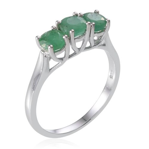 Kagem Zambian Emerald (Rnd) Trilogy Ring in Platinum Overlay Sterling Silver 1.500 Ct.