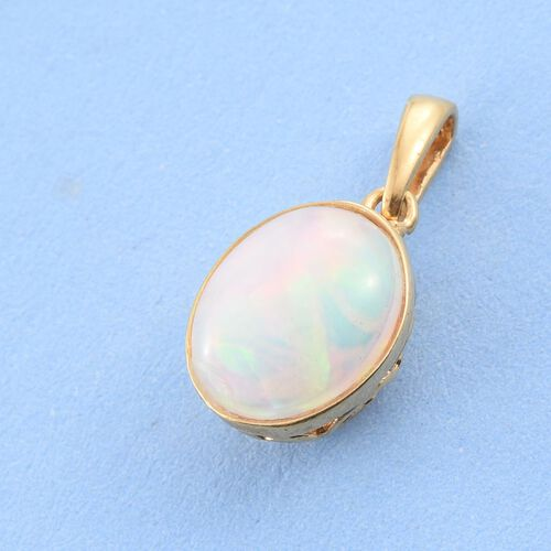 AA Ethiopian Welo Opal (Ovl) Solitaire Pendant in 14K Gold Overlay Sterling Silver 1.500 Ct.