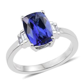 RHAPSODY 950 Platinum AAAA Tanzanite (Cush 2.30 Ct), Diamond (VS/E-F) Ring 2.500 Ct.