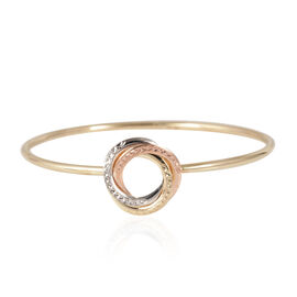 Close Out Deal 9K Yellow, White and Rose Gold Diamond Cut Rings Flexible Bangle (Size 7), Gold wt 6.00 Gms.
