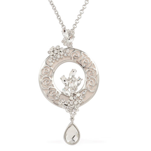 Simulated White Diamond, White Austrian Crystal and Simulated Stone Necklace (Size 32 with Extension) in Silver Tone