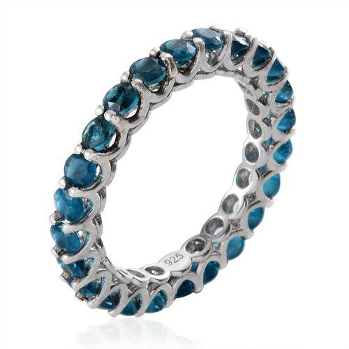 Malgache Neon Apatite (Rnd) Full Eternity Ring in Platinum Overlay Sterling Silver 2.250 Ct.