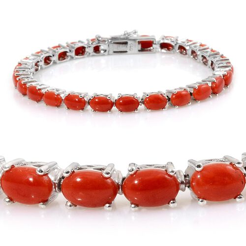 Natural Mediterranean Coral (Ovl) Tennis Bracelet in Platinum Overlay Sterling Silver (Size 6.5) 11.000 Ct.
