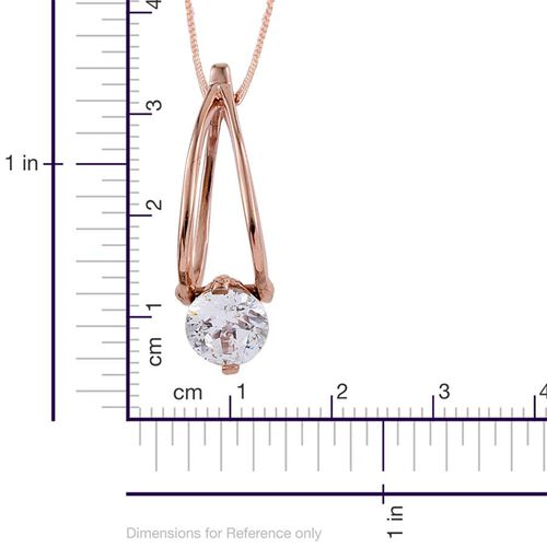J Francis - Rose Gold Overlay Sterling Silver (Rnd) Solitaire Pendant With Chain (Size 18) and Earrings (with Clasp) Made with SWAROVSKI ZIRCONIA