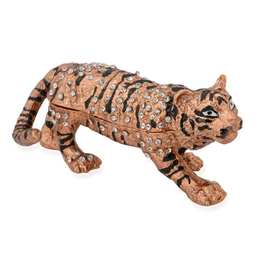 (Option 1) Brown and Black Enameled Tiger Shape Trinket Box in Gold Tone with White Austrian Crystal