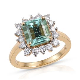 ILIANA 18K Y Gold Boyaca Colombian Emerald (Oct 2.85 Ct), Diamond Ring 3.650 Ct.