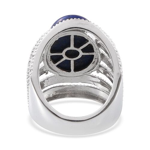 Lapis Lazuli (Ovl) Ring in Platinum Overlay Sterling Silver 13.000 Ct.
