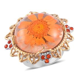 Natural Flower Preserved with Orange Austrian Crystal Ring in ION Plated Gold with Stainless Steel