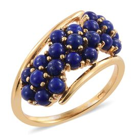 Lapis Lazuli (Rnd) Triple Floral Ring in 14K Gold Overlay Sterling Silver 2.500 Ct.