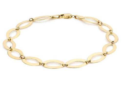 Close Out Deal 9K Yellow Gold Oval Link Bracelet (Size 7), Gold Wt. 1.70 Gms.