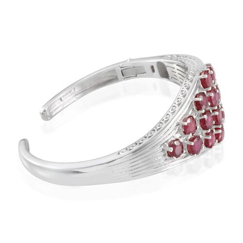 African Ruby (Rnd) Bangle in Platinum Overlay Sterling Silver (Size 7.5) 13.750 Ct.