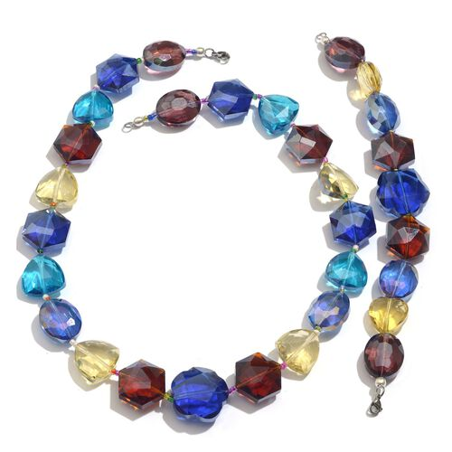 Multi Colour Glass Necklace (Size 20) and Bracelet (Size 8) in Silver Tone With Stainless Steel