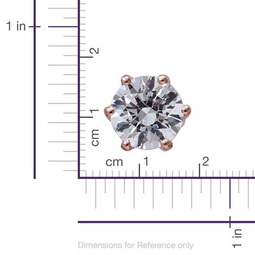 J Francis - Rose Gold Overlay Sterling Silver (Rnd) Stud Earrings (with Push Back) Made with SWAROVSKI ZIRCONIA.Stone Size 6mm