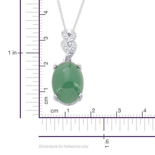 Emerald Quartz (Ovl 11.50 Ct), Diamond Pendant With Chain in Platinum Overlay Sterling Silver 11.510 Ct.