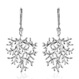 Platinum Overlay Sterling Silver Lever Back Olive Leaves Earrings, Silver wt 4.97 Gms.
