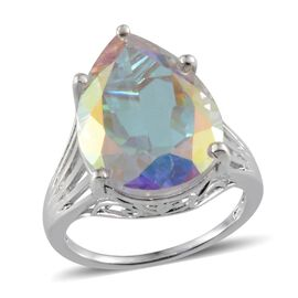 Mercury Mystic Topaz (Pear) Solitaire Ring in Platinum Overlay Sterling Silver 17.000 Ct.