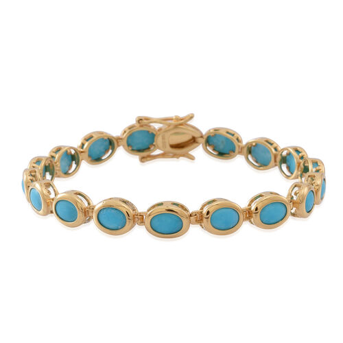 Arizona Sleeping Beauty Turquoise (Ovl) Bracelet (Size 7.5) in 14K Gold Overlay Sterling Silver 10.000 Ct.