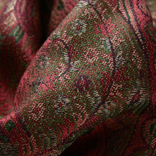 SILK MARK - 100% Superfine Silk Multi Colour Paisley and Leaves Pattern Red Colour Jacquard Jamawar Scarf with Fringes (Size 180x70 Cm) (Weight 125-140 Grams)