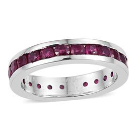 ILIANA 18K White Gold 3 Carat AAAA Burmese Ruby Round Full Eternity Band Ring.