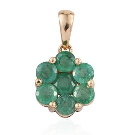 ILIANA 18K Y Gold AAAA Kagem Zambian Emerald (Rnd) 7 Stone Floral Pendant 1.750 Ct.
