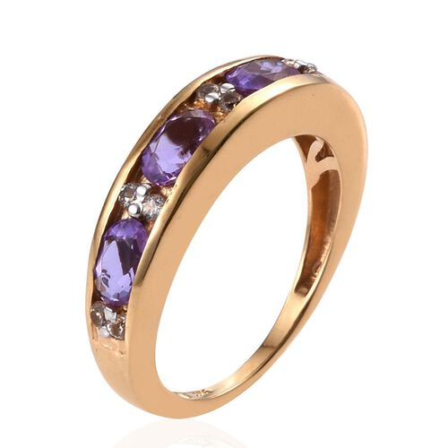 Lavender Alexite (Ovl), White Topaz Ring in 14K Gold Overlay Sterling Silver 1.750 Ct.